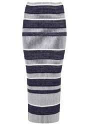 Finders Keepers Playground Tactics Striped Cotton Midi Skirt Blue