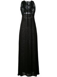 Amen Long Embellished Lace Panel Dress Women Polyamide Viscose Glass 44 Black