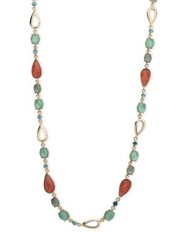 Anne Klein Mother Of Pearl And Multi Stone Long Necklace Gold