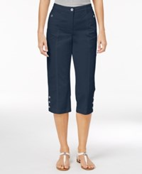 Karen Scott Cropped Button Hem Pants Only At Macy's Intrepid Blue