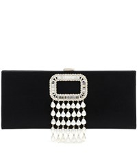 Roger Vivier Embellished Satin Clutch Black