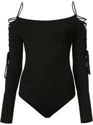 Cushnie Et Ochs Lace Up Detailing Boatneck Bodysuit Black