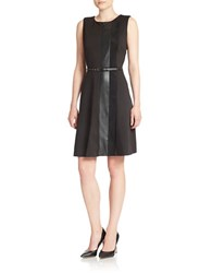 Calvin Klein Faux Leather Panelled Dress Black