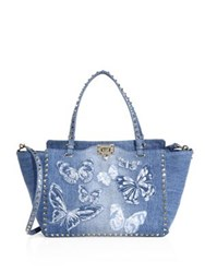 Valentino My Rockstud Medium Butterfly Embroidered Denim Tote