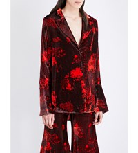 Ellery Mona Lisa Velvet Jacket Burgundy W Red