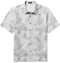 Theory Printed Cotton And Linen Blend Shirt Gray