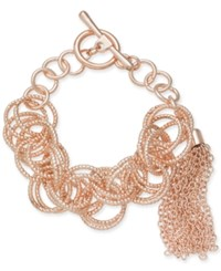 Inc International Concepts I.N.C. Rose Gold Tone Multi Ring Tassel Toggle Bracelet Created For Macy's