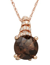 Lord And Taylor 14K Rose Gold Smokey Quartz And Diamond Pendant Necklace Smokey Quartz Rose Gold