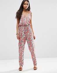 Brave Soul Floral Jumpsuit Coral Orange