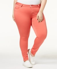 Celebrity Pink Trendy Plus Size Colored Skinny Jeans Spiced Coral