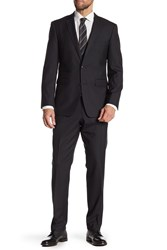Vince Camuto Wool Two Button Notch Lapel Trim Fit Suit Black Solid