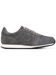 Armani Jeans Classic Sneakers Men Cotton Suede Polyamide Rubber 9.5 Grey