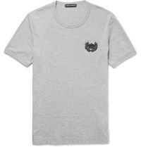 Dolce And Gabbana Slim Fit Appliqued Melange Cotton Jersey T Shirt Gray