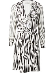 Bouchra Jarrar Ruffle Detail Zebra Print Dress Black