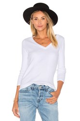Monrow Open V Neck Long Sleeve White