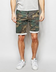 Asos Slim Washed Shorts In Camo With Cargo Pockets Khaki Green