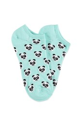 Forever 21 Panda Patterned Ankle Socks Aqua White