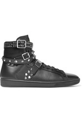 Saint Laurent Studded Leather High Top Sneakers Black