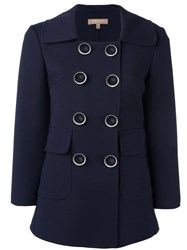 Michael Kors Double Breasted Boxy Blazer Blue