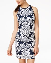 B. Darlin B Juniors' Printed Sleeveless Bodycon Dress Navy White