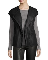Vince Perforated Leather Panel Vest Black