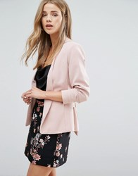 New Look Tie Front Crop Jacket Nude Pink