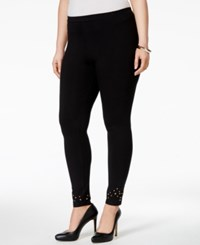 Styleandco. Style And Co. Plus Size Studded Leggings Only At Macy's Deep Black