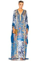 Roberto Cavalli Printed Woven Dress In Blue Floral Blue Floral