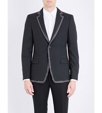 Alexander Mcqueen Patterned Trims Wool And Mohair Blend Jacket Black Ivory