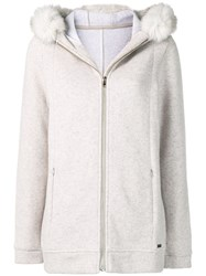 Woolrich Hooded Zipped Cardigan Nude And Neutrals