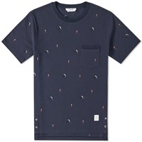 Thom Browne Flag Embroidery Pique Tee Blue