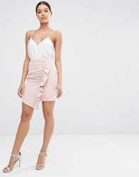 Asos A Line Mini Skirt With Asymmetric Ruffle Blush Pink