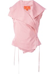 Vivienne Westwood Red Label Sleeveless Wrap Blouse Pink And Purple