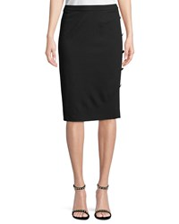 Escada Pencil Jersey Skirt With Side Button Details Black