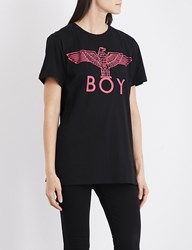 Boy London Eagle Cotton Jersey T Shirt Black Pink