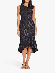 Adrianna Papell Jacquard One Shoulder Dress Blue Moon