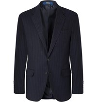Polo Ralph Lauren Navy Slim Fit Pinstriped Stretch Cotton And Wool Blend Suit Jacket Blue
