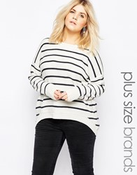 Brave Soul Plus Stripey Jumper White