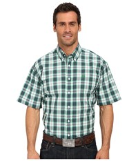 Cinch Short Sleeve Plain Weave Plaid White Men's Short Sleeve Button Up