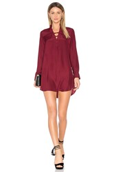 David Lerner Silk Lattice Shirt Dress Red