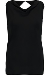 Maria Grachvogel Luxia Cutout Draped Crepe Top Black