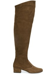 Saint Laurent 'Bb 70' Over The Knee Boots Brown