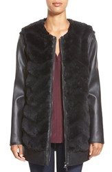 Women's Sam Edelman 'Charlie' Faux Fur Coat With Detachable Faux Leather Sleeves