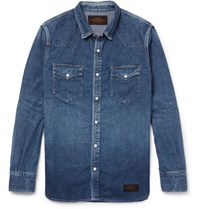 Neighborhood Slim Fit Washed Denim Western Shirt Indigo