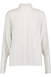 Dion Lee Quarter Frayed Pinstriped Cotton Chambray Blouse White