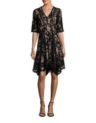 Taylor Three Quarter Sleeve Zimmerman A Line Lace Dress Black Nude