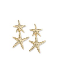 Oscar De La Renta Sea Star Golden Drop Earrings