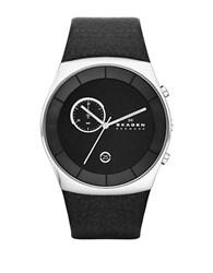 Skagen Mens Klassik Silvertone And Smooth Leather Watch Black