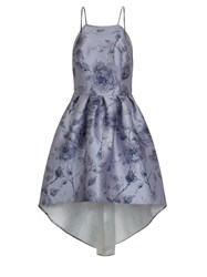 Chi Chi London Digital Floral Print Dip Hem Dress Purple