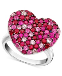 Effy Collection Balissima By Effy Pink Sapphire 1 5 8 Ct. T.W. And Ruby 1 5 8 Ct. T.W. Heart Ring In Sterling Silver